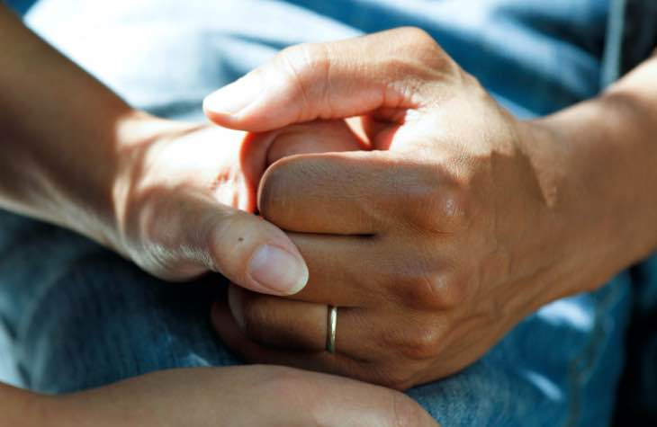 Hands Holding In Luxury Opioid Rehab Center