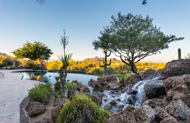 Stunning View Of Our Pool, Jacuzzi And Rock Waterfall At The Hope House Scottsdale Rehab