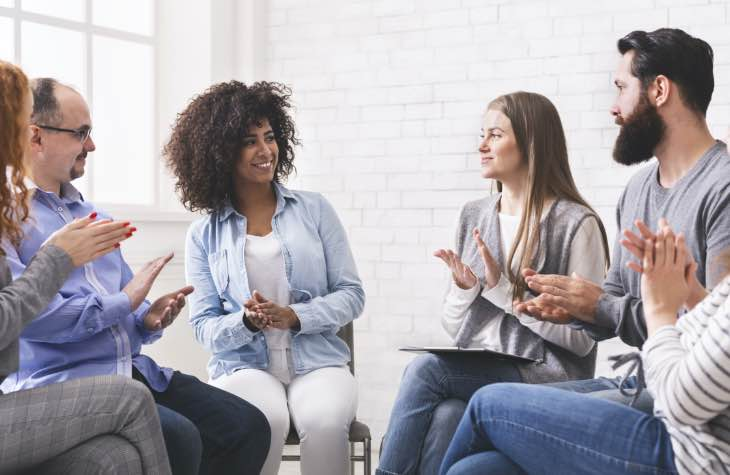 Group Therapy Session As Patients Deal With Alcohol Withdrawal And Detox