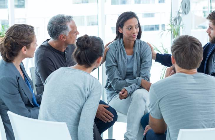 An Alcoholics Anonymous Meeting A Type Of Treatment Program For Alcohol Abuse